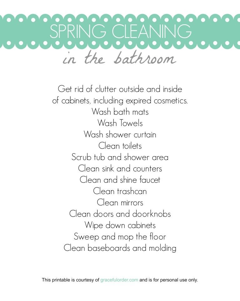 Spring Cleaning Bathroom Printable